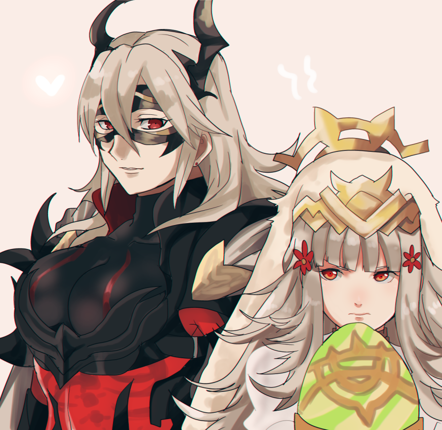 2girls animal_ears armor black_armor black_mask_(clothing) bone breastplate breasts cape closed_mouth crown domino_mask dress earrings easter_egg egg fire_emblem fire_emblem_heroes flower grey_hair hair_between_eyes hair_flower hair_ornament heart holding holding_egg horned_mask horns jewelry large_breasts long_hair looking_at_another mask masked multiple_girls parted_lips pink_background rabbit_ears red_eyes rem_sora410 simple_background skeleton teeth thrasir_(fire_emblem) upper_body veronica_(fire_emblem) white_cape white_dress