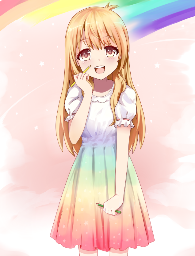 1girl beifeng_han blonde_hair blush cyou_shigen dress gradient_dress long_hair looking_at_viewer open_mouth original pen puffy_short_sleeves puffy_sleeves rainbow rainbow_gradient red_eyes revision short_sleeves simple_background smile solo