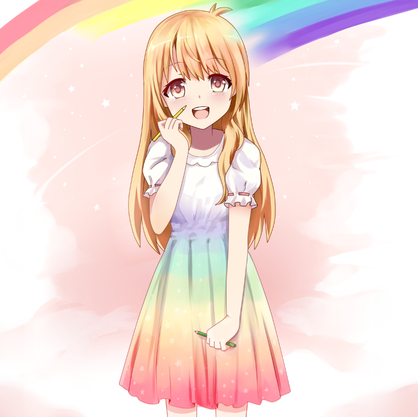 1girl beifeng_han blonde_hair cyou_shigen dress long_hair looking_at_viewer open_mouth original pen puffy_short_sleeves puffy_sleeves rainbow rainbow_gradient red_eyes short_sleeves simple_background smile solo