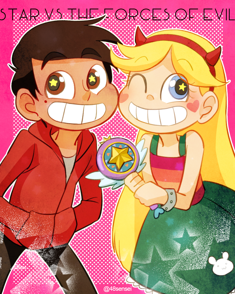 1boy 1girl ;d blonde_hair blue_eyes blush_stickers brown_eyes copyright_name cowboy_shot dark_skin hairband horned_headwear long_hair marco_diaz mole mole_under_eye one_eye_closed open_mouth pink_background pink_border polka_dot polka_dot_background shiba_(stm1128) short_hair simple_background smile star star-shaped_pupils star_butterfly star_vs_the_forces_of_evil symbol-shaped_pupils twitter_username wand