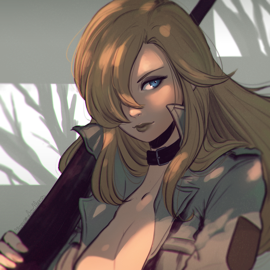 1girl belt blonde_hair blue_eyes breasts choker cleavage clockwork-cadaver closed_mouth dappled_sunlight eyelashes gun hair_over_one_eye high_collar jacket lipstick long_hair looking_away looking_to_the_side makeup metal_gear_(series) metal_gear_solid rifle shade sniper_rifle sniper_wolf solo upper_body watermark weapon web_address yellow_lipstick