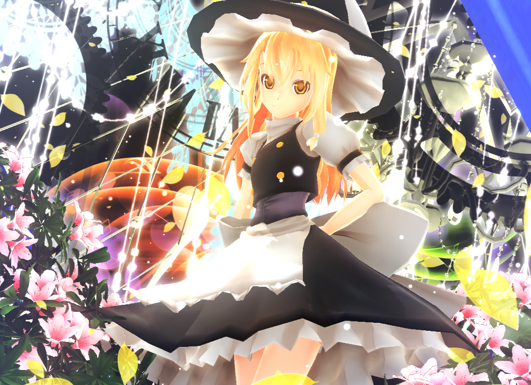1girl 3d clock dress flower hat kirisame_marisa kurogoma_(meganegurasan) mikumikudance solo touhou witch_hat