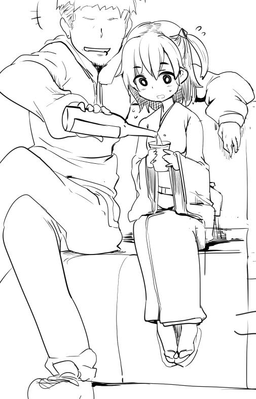 1boy 1girl :d alcohol bottle crossed_legs cup hair_ornament japanese_clothes kimono kominato_ruuko momio monochrome nervous obi open_mouth pouring sash side_ponytail sitting sketch smile solo sweatdrop wixoss