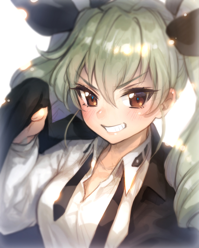 1girl anchovy blush brown_eyes close-up commentary drill_hair face girls_und_panzer green_hair hair_ribbon long_hair looking_at_viewer military military_uniform necktie open_mouth portrait ribbon simple_background smile solo twin_drills twintails uniform upper_body white_background yamori_(stom)