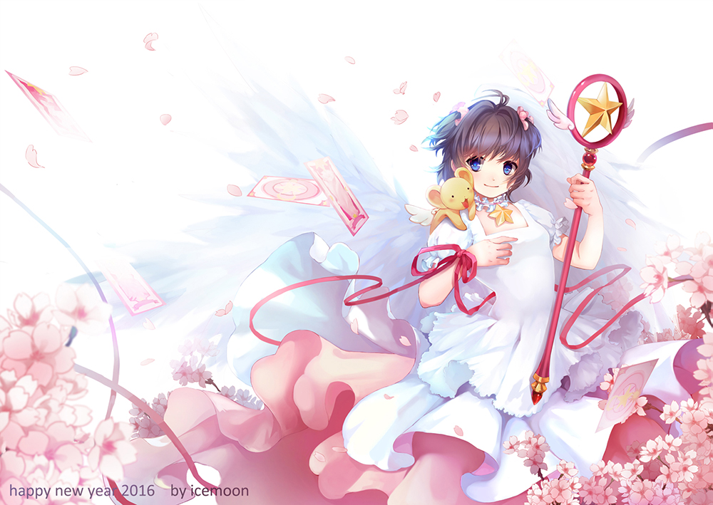 1girl 2016 alternate_eye_color antenna_hair blue_eyes blurry brown_hair card cardcaptor_sakura cherry_blossoms choker creature_on_shoulder depth_of_field dress feathered_wings flower frilled_sleeves frills hair_flower hair_ornament hoshi_no_tsue icemoon0123 kero kinomoto_sakura petals pink_ribbon puffy_short_sleeves puffy_sleeves ribbon sakura_card short_hair short_sleeves star wand white_background white_dress white_wings wings