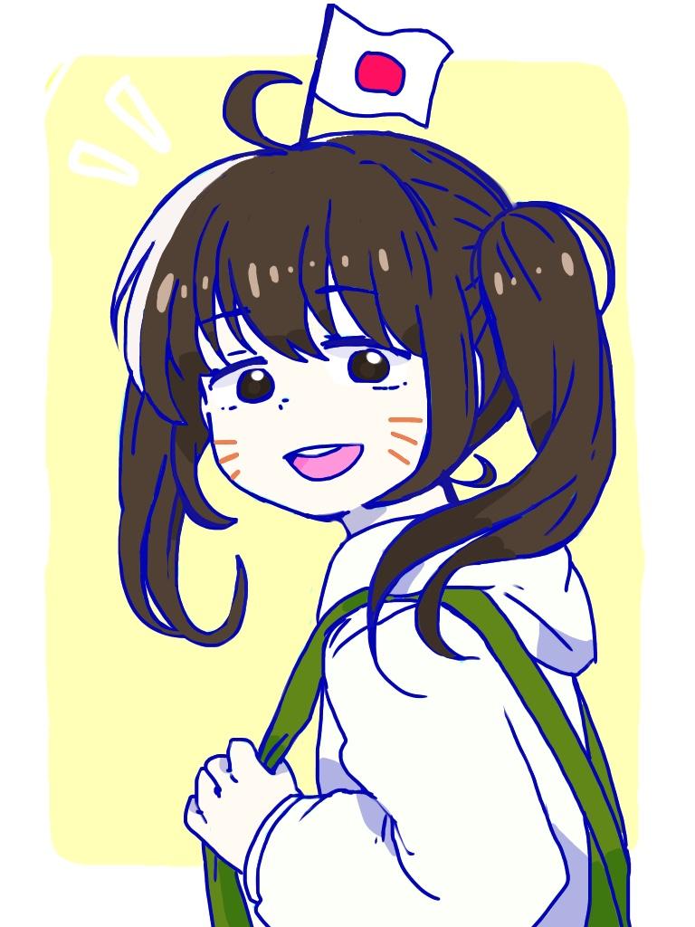 1girl brown_eyes brown_hair genderswap hatabou looking_at_viewer osomatsu-kun osomatsu-san overalls smile twintails whisker_markings