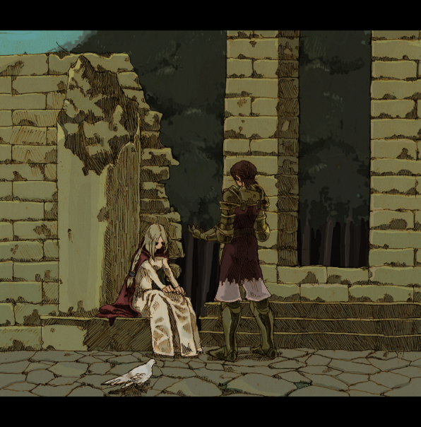 1boy 1girl armor artist_request bird blonde_hair breasts brown_hair building cape delita_heiral dress final_fantasy final_fantasy_tactics gloves knight long_hair outdoors ovelia_atkascha pigeon ruins sitting tagme tree