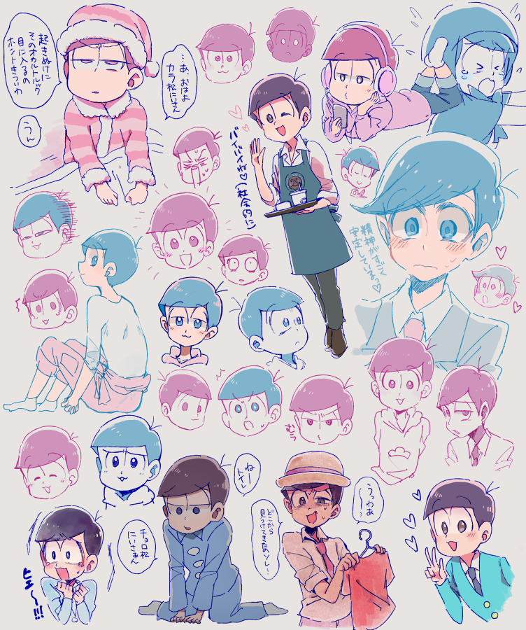 1boy :3 barista cowlick expressions formal hat headphones heart hood hoodie little_red_riding_hood little_red_riding_hood_(cosplay) male_focus matsuno_todomatsu multiple_persona necktie nightcap osomatsu-kun osomatsu-san pajamas pink_necktie porkpie_hat shijima_(agkm) shirt smile socks suit t-shirt v