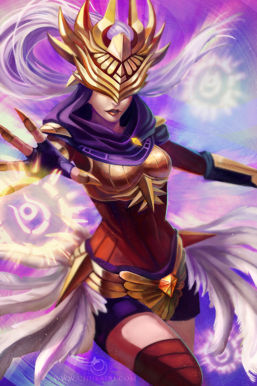 1girl alternate_costume armor artist_name feathers gauntlets gloves highres jewelry justicar_syndra league_of_legends long_hair mask melody_(chukairi) necklace solo syndra white_hair
