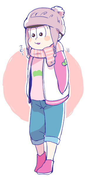 1boy :3 beanie blush_stickers capri_pants circle full_body hands_in_pockets hat letterman_jacket male_focus matsuno_todomatsu osomatsu-kun osomatsu-san pants pants_rolled_up scarf solo srmrms winter_clothes