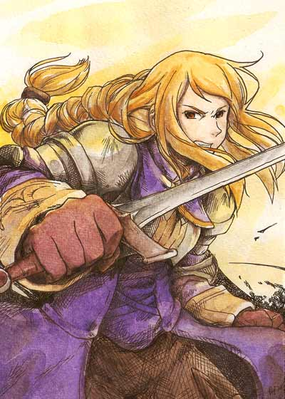 1girl agrias_oaks armor blonde_hair braid brown_eyes corset final_fantasy final_fantasy_tactics gloves knight long_hair single_braid solo sword tagme weapon
