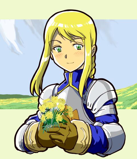 1girl agrias_oaks armor blonde_hair braid corset final_fantasy final_fantasy_tactics gloves inui_(jt1116) knight long_hair single_braid solo tagme