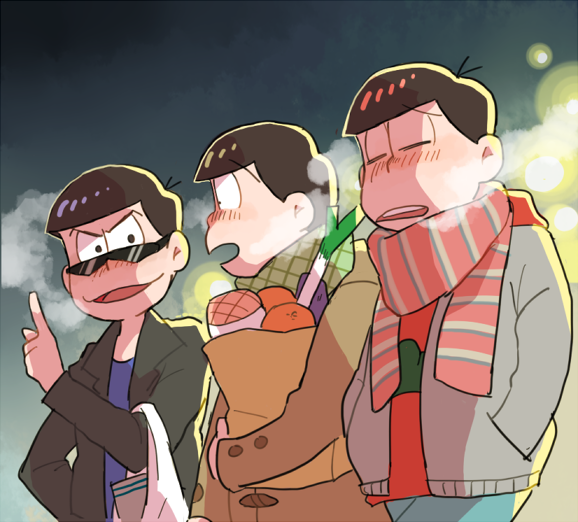 3boys breath brothers matsuno_choromatsu matsuno_karamatsu matsuno_osomatsu multiple_boys osomatsu-kun osomatsu-san siblings winter_clothes
