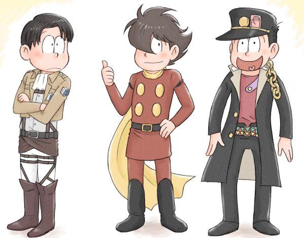 3boys :< brown_hair cyborg_009 gakuran hair_over_one_eye hat heart heart_in_mouth jacket jojo_no_kimyou_na_bouken kamiya_hiroshi kuujou_joutarou levi_(shingeki_no_kyojin) matsuno_choromatsu matsuno_juushimatsu matsuno_osomatsu multiple_boys ono_daisuke open_clothes open_jacket osomatsu-san sakurai_takahiro scarf school_uniform seiyuu_connection shimamura_joe shingeki_no_kyojin