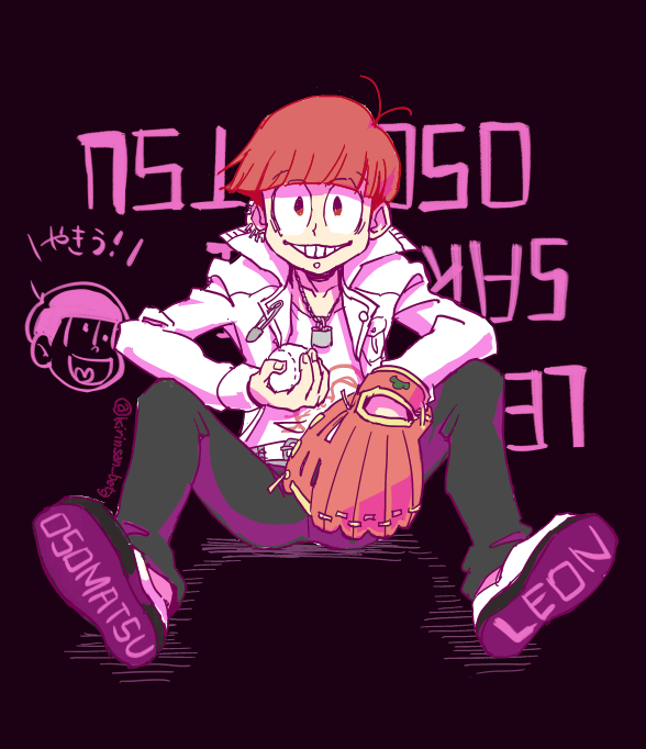 1boy baseball baseball_mitt black_background chain chain_necklace danganronpa danganronpa_1 denim earrings jeans jewelry kuwata_reon kuwata_reon_(cosplay) lock matsuno_juushimatsu matsuno_osomatsu osomatsu-kun osomatsu-san pants piercing redhead safety_pin sakurai_takahiro seiyuu_connection simple_background sitting smile twitter_username