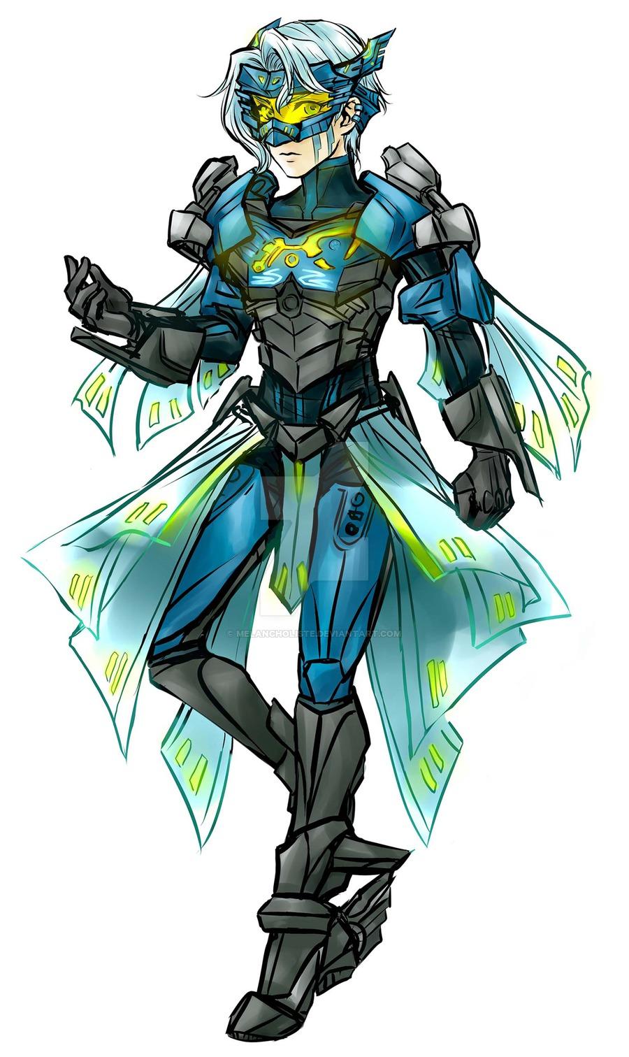 1girl armor bionicle blue_hair gali highres humanization lego melancholiste short_hair the_lego_group visor