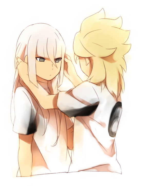 2boys bangs blonde_hair inazuma_eleven_(series) inazuma_eleven_go inazuma_eleven_go_galaxy long_hair male_focus multiple_boys roran_lazarev sekina soccer_uniform sportswear storm_wolf upper_body white_background white_hair yuri_averin