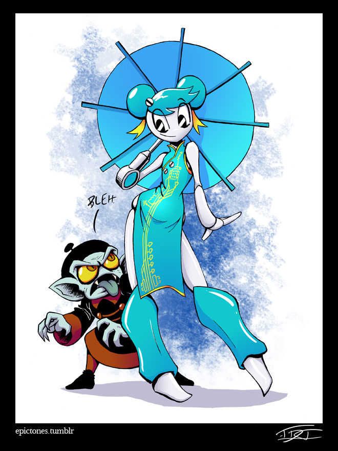 1girl android black_eyes blue_dress blue_hair china_dress chinese_clothes contrapposto double_bun dress eric_toner fangs flat_chest full_body jennifer_wakeman jiangshi my_life_as_a_teenage_robot nickelodeon oriental_umbrella prosthesis prosthetic_arm robot_joints smile standing umbrella watermark web_address wide_hips