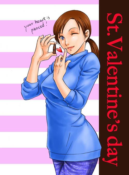 1girl blue_eyes breasts brown_hair heart jill_valentine long_hair resident_evil resident_evil_5 solo