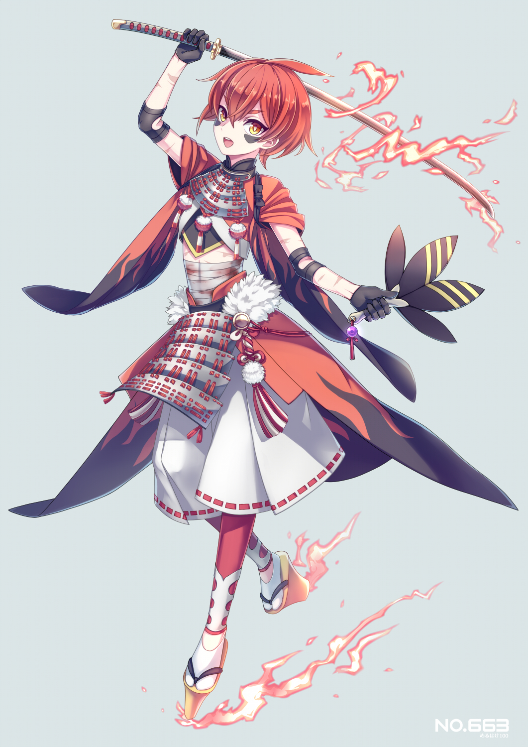 :d ahoge androgynous arm_up armor bandages black_gloves blood blood_stain crop_top dual_wielding elbow_pads facial_mark feathers fire flame_print flaming_sword full_body gloves hair_between_eyes hakama highres holding_fan holding_sword holding_weapon japanese_armor japanese_clothes kusazuri leaf_fan looking_at_viewer marble merlusa number open_mouth orange_eyes personification platform_footwear pokemon pokemon_(game) pom_pom_(clothes) red_legwear red_ribbon redhead ribbon ribbon-trimmed_shorts rope scar short_hair simple_background slippers smile solo sword talonflame tassel tasuki waist_cape walking weapon