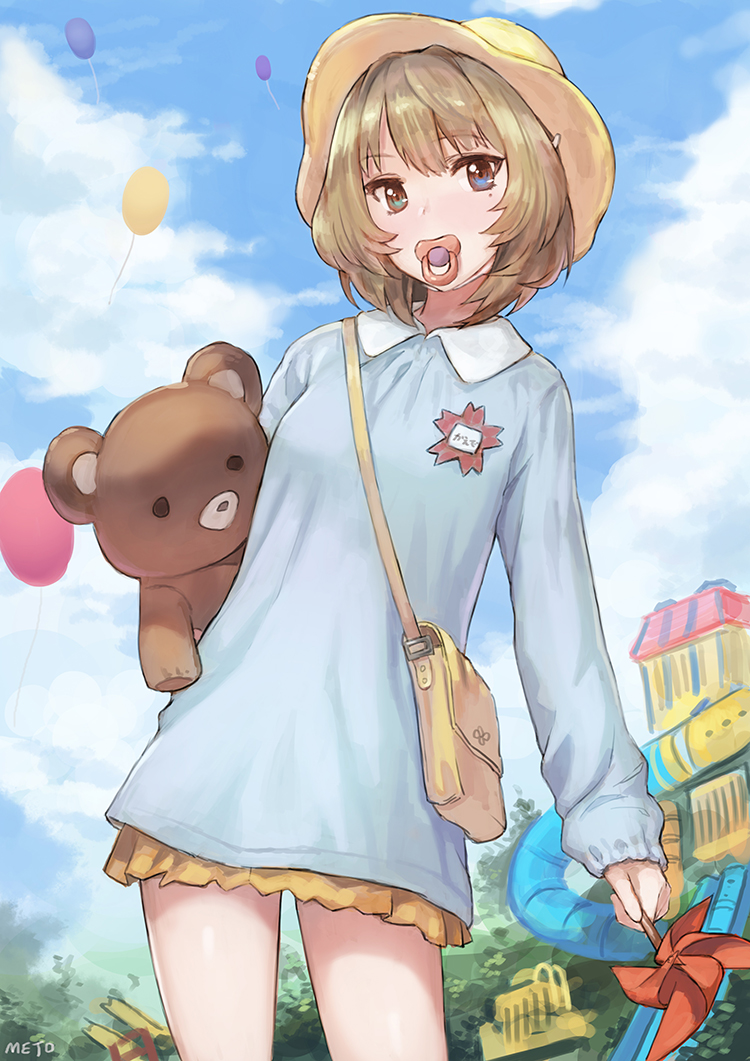 1girl bag balloon blue_eyes blush brown_hair green_eyes hat heterochromia idolmaster idolmaster_cinderella_girls jungle_gym kindergarten_uniform looking_at_viewer meto31 mole mole_under_eye name_tag pacifier pinwheel school_bag school_hat school_uniform short_hair skirt solo stuffed_animal stuffed_toy takagaki_kaede teddy_bear