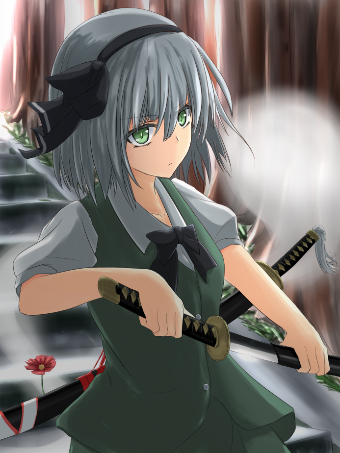 >:( 1girl black_bow black_bowtie black_ribbon bow bowtie closed_mouth collarbone collared_shirt expressionless eyebrows eyebrows_visible_through_hair floating flower forest ghost green_eyes green_skirt green_vest grey_hair hair_between_eyes hair_ribbon hairband hitodama holding_sword holding_weapon konpaku_youmu konpaku_youmu_(ghost) nature outdoors plant puffy_short_sleeves puffy_sleeves ribbon scabbard sheath shirt short_hair short_sleeves skirt solo stairs sunlight sword takemitsu-zamurai touhou tree tsurime unsheathing vest weapon white_shirt