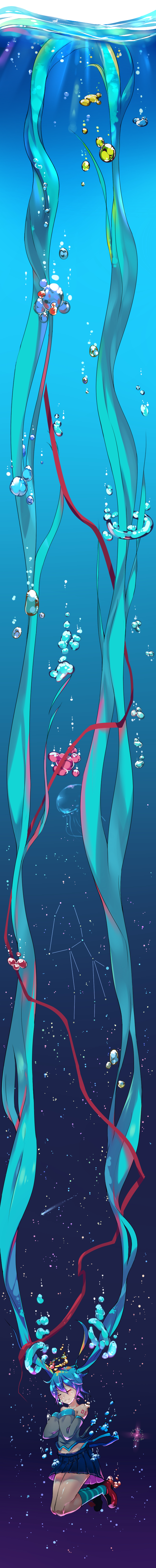 1girl absurdly_long_hair absurdres air_bubble aqua_hair bare_shoulders bubble closed_eyes comet constellation hatsune_miku highres jellyfish long_hair long_image pleated_skirt qing_lan ribbon shinkai_shoujo_(vocaloid) skirt solo tall_image twintails underwater very_long_hair vocaloid water