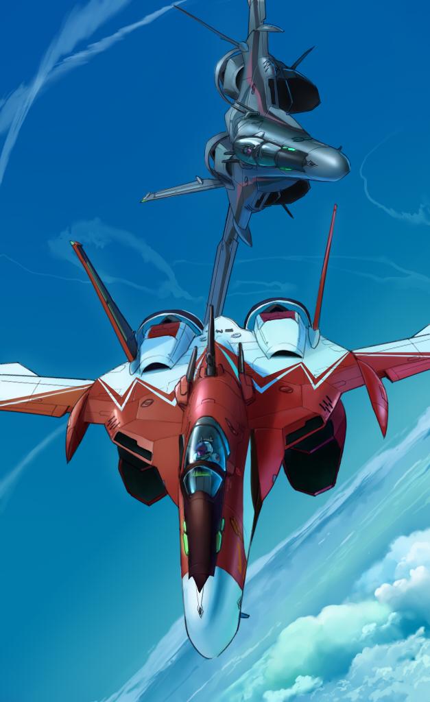 airplane canopy condensation_trail couple energy_cannon flying helmet inui's_meltran inui_(jt1116) macross macross_frontier mecha meltrandi miclone pilot pilot_suit s.m.s. science_fiction spacesuit vf-25 zentradi