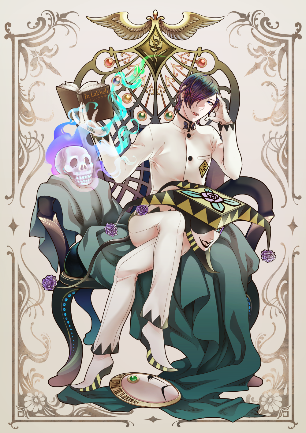 1boy black_hair blue_eyes book cape crossed_legs flower gloves hair_over_one_eye hat highres joker_(persona_2) kurosu_jun looking_at_viewer male_focus mask mask_removed persona persona_2 purple_rose rose short_hair sitting skull solo spoilers throne tomio