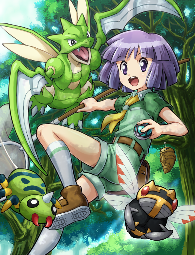 1boy :d belt black_eyes blush butterfly_net fangs hand_net horn insect_wings kakuna net net_ball ninjask open_mouth otoko_no_ko poke_ball pokemoa pokemon pokemon_(creature) pokemon_(game) pokemon_hgss purple_hair red_eyes scyther shiny shiny_hair short_hair shorts smile spikes spinarak tree tsukushi_(pokemon) violet_eyes wings