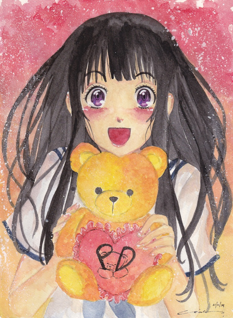 1girl bear black_hair blush chitanda_eru deviantart heart holding hyouka long_hair looking_at_viewer merilisle open_mouth plushie purple_eyes school_uniform solo stuffed_animal teddy teddy_bear valentine