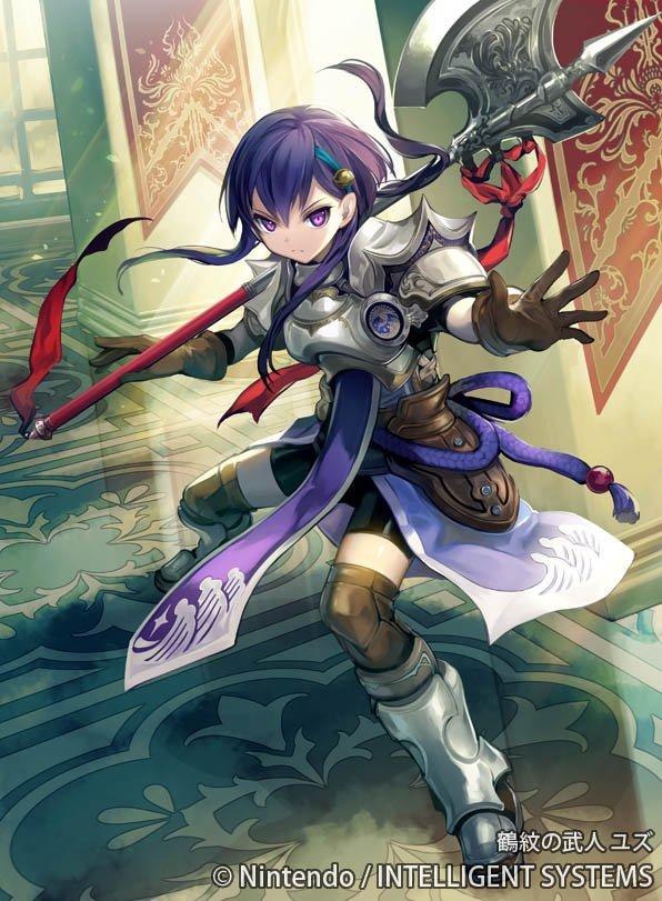 1girl armor armored_boots axe bell boots company_name fire_emblem fire_emblem_cipher gloves kawasumi_mahiro official_art purple_hair solo violet_eyes weapon yuzu_(fire_emblem)