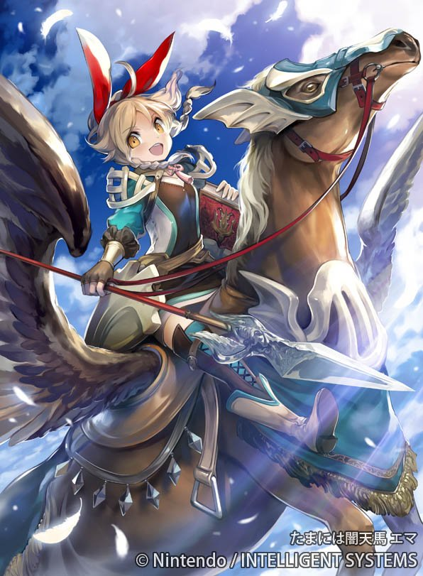 1girl ahoge blonde_hair book boots bow clouds company_name emma_(fire_emblem) feathers fingerless_gloves fire_emblem fire_emblem_cipher gloves kawasumi_mahiro long_hair official_art open_mouth pegasus polearm ponytail sky solo spear weapon wings yellow_eyes