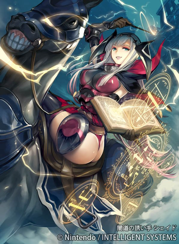 1girl armor ass bangs blue_eyes book breasts capelet company_name electricity fire_emblem fire_emblem_cipher horse kawasumi_mahiro long_hair magic_circle official_art open_mouth shade_(fire_emblem) solo thong wand white_hair