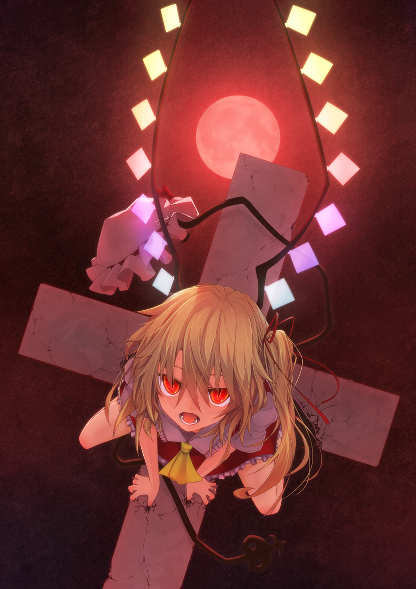 1girl ascot blonde_hair broken cross crystal dutch_angle fangs flandre_scarlet from_above full_moon hair_ribbon hat hat_removed headwear_removed highres laevatein looking_at_viewer mob_cap moon open_mouth puffy_sleeves red_eyes red_moon ribbon shirt short_sleeves side_ponytail skirt skirt_set slit_pupils solo tangent_(reflans) touhou vest wings