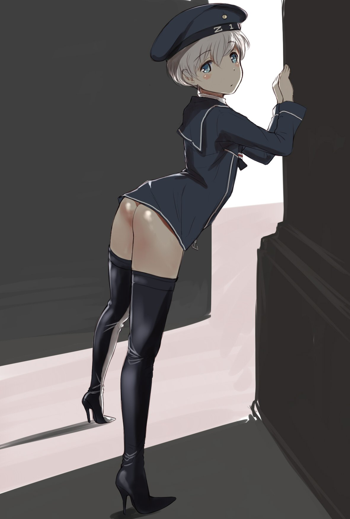 1girl against_wall alternate_legwear black_legwear blonde_hair blush boots dress german_clothes hat high_heel_boots high_heels highres kantai_collection looking_at_viewer microdress military military_hat military_uniform sailor_collar sailor_dress sailor_hat shiny shiny_skin short_hair solo stiletto_heels thigh-highs thigh_boots uniform wa_(genryusui) z1_leberecht_maass_(kantai_collection)