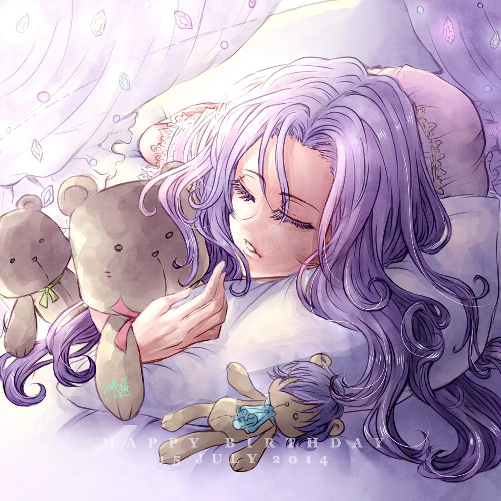 1girl akihiro821 closed_eyes dated gem happy_birthday long_hair pillow purple_hair saint_seiya saint_seiya:_the_lost_canvas sleeping solo stuffed_animal stuffed_toy teddy_bear teeth vouivre_garnet
