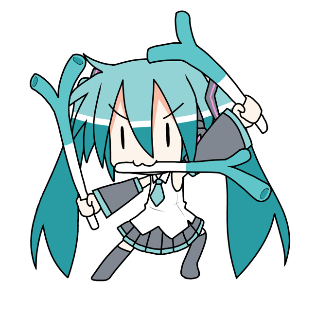 >:3 :3 chibi chibi_miku fighting_stance hatsune_miku minami_(colorful_palette) mouth_hold one_piece parody roronoa_zoro spring_onion triple_wielding twintails vocaloid