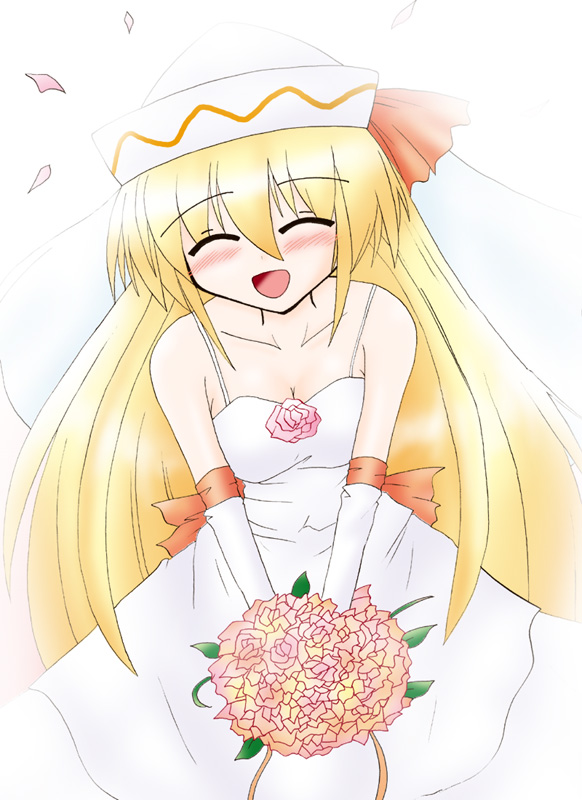 bare_shoulders blonde_hair blush bouquet bride closed_eyes dress elbow_gloves flower gloves hat lily_white long_hair ryutotoranoikkiuchi smile solo touhou wedding_dress