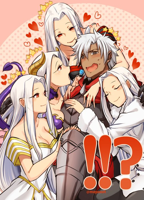 1boy 4girls candy confused dark_skin demon_girl demon_horns demon_tail emiya_kiritsugu fate/grand_order fate_(series) girl_sandwich harem heart horns husband_and_wife irisviel_von_einzbern lollipop mepo_(raven0) multiple_girls multiple_persona sandwiched star succubus tail white_hair