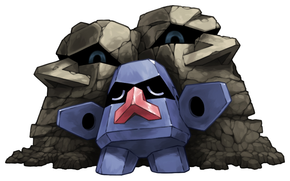 blue_eyes closed_eyes full_body moai no_humans nosepass outstretched_arms pearl7 pokemon pokemon_(creature) pokemon_(game) pokemon_rse rock simple_background statue white_background