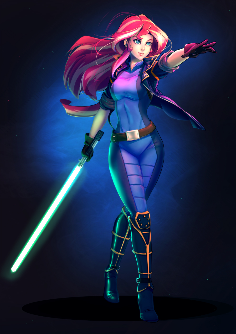 1girl bakki blonde_hair bodysuit boots energy_sword green_eyes highres jacket knee_boots lightsaber long_hair mismatched_gloves multicolored_hair my_little_pony my_little_pony_equestria_girls my_little_pony_friendship_is_magic personification redhead short_sleeves solo star_wars streaked_hair sunset_shimmer sword two-tone_hair weapon