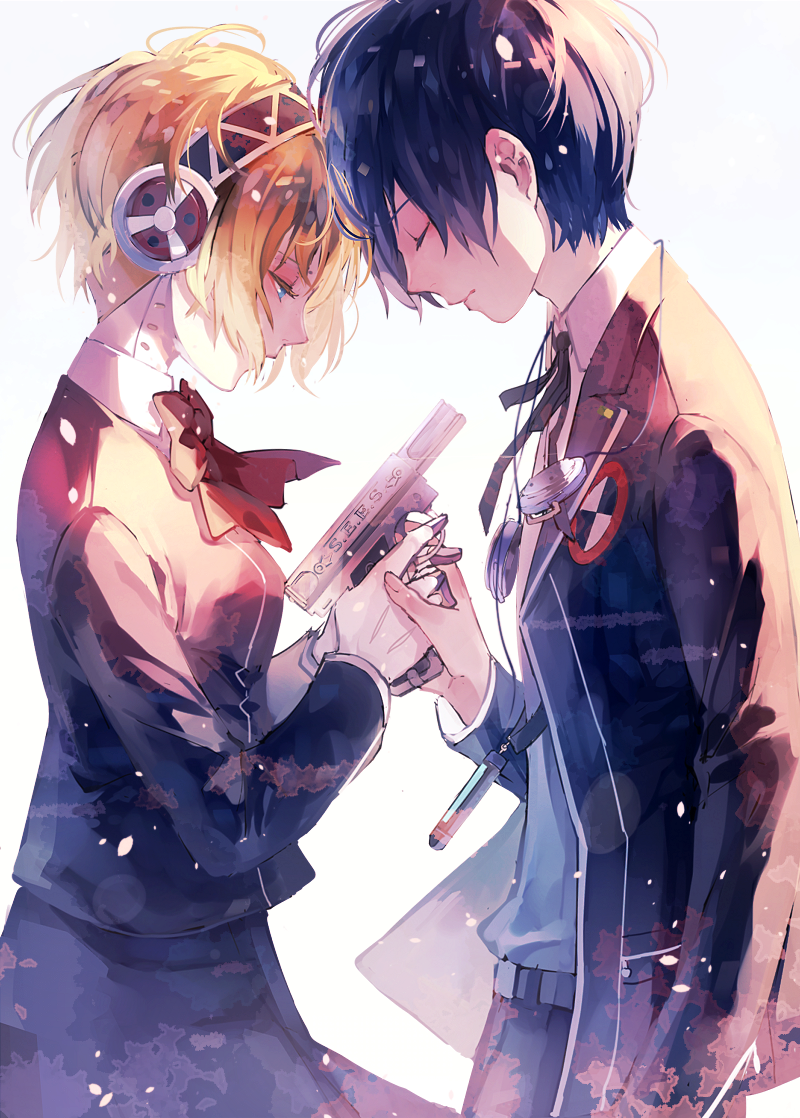1boy 1girl aegis aegis_(persona) android arisato_minato arm_at_side bangs belt black_hair black_ribbon blazer blonde_hair blue_eyes bow bowtie cable closed_eyes closed_mouth collared_shirt covered_mouth cowboy_shot evoker finger_on_trigger forehead-to-forehead from_side gloves gun headphones headphones_around_neck holding holding_gun holding_hands holding_weapon jacket long_sleeves neck_ribbon persona persona_3 profile red_bow red_bowtie ribbon school_uniform shirt skirt syokuuuuuuuuumura weapon white_background white_gloves white_shirt yuuki_makoto