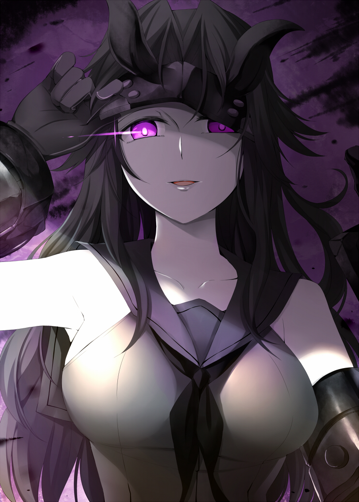 1girl black_hair breasts commentary_request gloves horns kantai_collection large_breasts light_cruiser_hime long_hair looking_at_viewer mask mask_up md5_mismatch open_mouth pale_skin rui_shi_(rayze_ray) school_uniform serafuku shinkaisei-kan smile solo upper_body violet_eyes