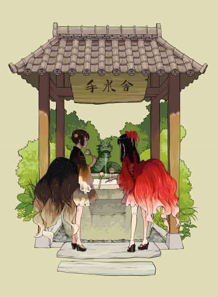 2girls back bangs bare_legs black_hair bow brown_hair bush double_bun dragon eastern_dragon fish_costume fountain frills geta grass hair_bow hishaku holding japanese_clothes kimono leaf legs_apart long_hair multiple_girls obi original outdoors plant platform_footwear pouring purimari red_bow sash shade short_kimono sidelocks sleeping standing statue vines water wide_sleeves yukata