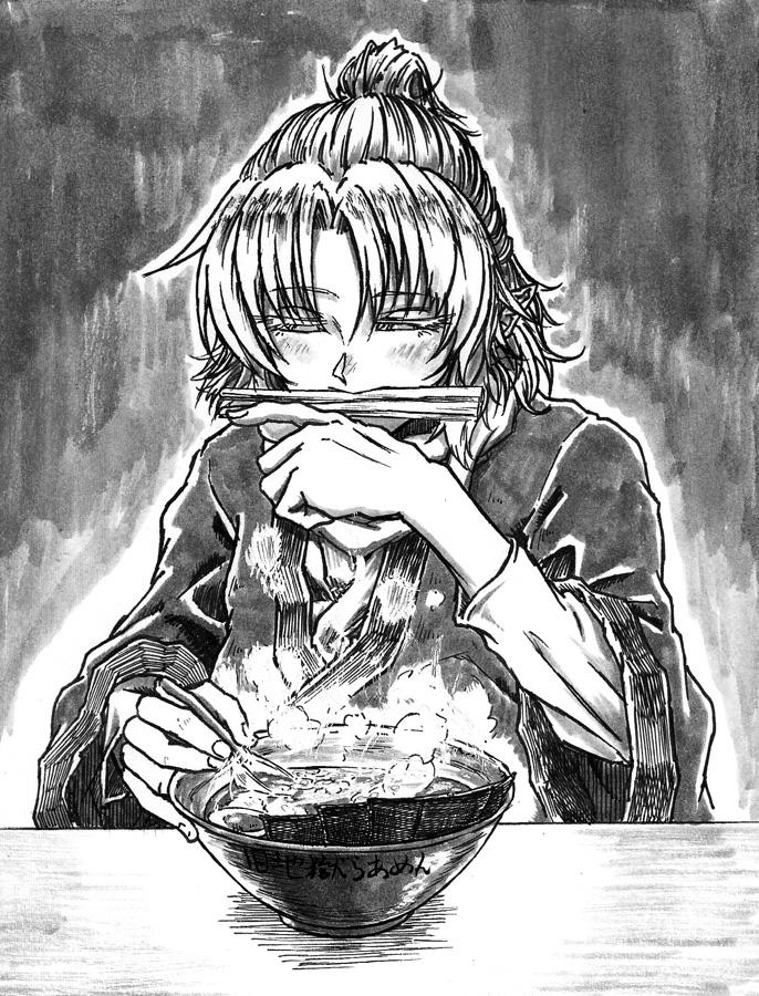 1girl bowl chopsticks closed_eyes eyelashes food hand_up kitsune_udon koyubi_(littlefinger1988) long_sleeves mizuhashi_parsee monochrome mouth_hold pointy_ears short_hair sitting solo steam table touhou wide_sleeves