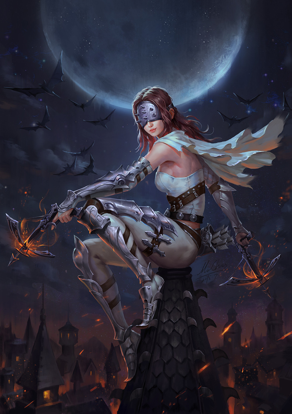 1girl armor armored_boots arrow bat belt boots bow_(weapon) brown_hair bustier cape crossbow diablo_3 dual_wielding fire highres holster lips long_hair mask moon night quiver sitting solo spikes thigh_holster town weapon wenfei_ye