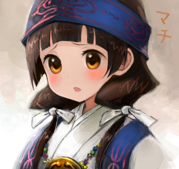 1girl amayadori_machi bangs blunt_bangs blush brown_eyes brown_hair hair_ribbon headband hiro1984 japanese_clothes jewelry kimono kumamiko long_hair looking_at_viewer low_twintails necklace nontraditional_miko pendant portrait revision ribbon solo tareme text translation_request twintails upper_body white_ribbon