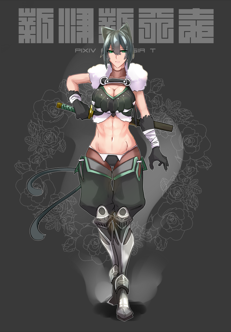 abs animal_ears aqua_eyes black_gloves breasts cat_ears cat_tail cleavage gloves groin katana midriff navel pixiv_fantasia pixiv_fantasia_t short_hair sword tail thigh_gap translation_request weapon webslinger
