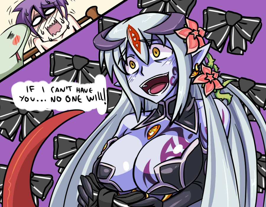 1boy 1girl alice_(mon-musu_quest!) alisfieze_fateburn_xvi bad_end bad_end_happy black_gloves bodypaint breasts cleavage creepy english fantasy gloves grandmastag hair_ribbon headgear lamia long_hair luka_(mon-musu_quest!) markings mon-musu_quest! monster_girl purple_background ribbon scales silver_hair simple_background smile smirk snake snake_tail solo_focus tail tail_ribbon tattoo text trifle_nihai very_long_hair yandere yellow_eyes
